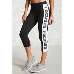 Forever21 Active Capri Leggings (€14) ❤ liked on Polyvore featuring pants, leggings, white leggings, white pants, forever 21 pants, forever 21 leggings and white trousers