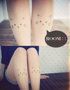 Tattooed kitty tights
