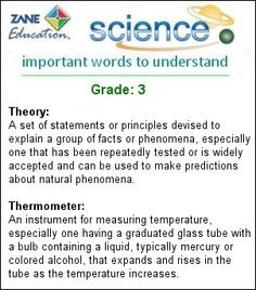 Science Words for Grade: 3 - http://www.zaneeducation.com - Study the meanings of important Science Words for Grade: 3