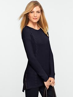 Talbots  Side-Zip Ribbed & Cable Sweater, 6 colors, $90