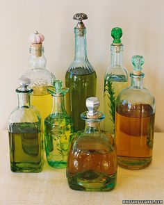 Join crafts store corks with vintage or new drawer pulls of faceted glass, painted porcelain, and cast metal, and you can build a collection of shapely carafes for oils and extracts -- a perfect gift for a Dad who cooks.