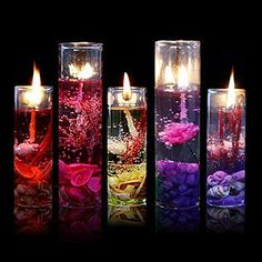 Gemini_mall 1PC Romantic Glass Bottles Ocean Theme Smokeless Jelly Wax Gel Candles for Wedding Birthday Party Decor, Random Colour (Random Color)