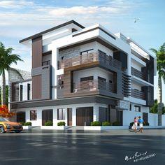 Modern Villa Design, Modern Exterior House Designs, Unique House Design, House Front Design, 3 Storey House Design, Bungalow House Design, House Architecture Styles, Model House Plan, Facade House