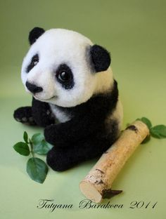 What an adorable needle felted panda! Can it maybe be made to look even cuter? That's pretty hard to say.