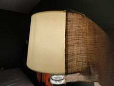 Burlap lamp shades would be cute with some kind of stencil on it before after easy cheap diy burlap lamp shade upgrade more at leahandjoe audiocablefo