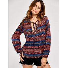 Lace Up Ethnic Print Peasant Blouse #shoes, #jewelry, #women, #men, #hats, #watches, #belts