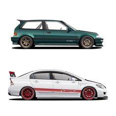 A pair of Civics done for @rickydianto #honda #civic #ef #fd2 #fd