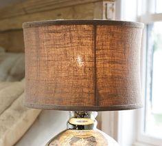 Burlap Flared Drum Lamp Shade, Medium, Natural