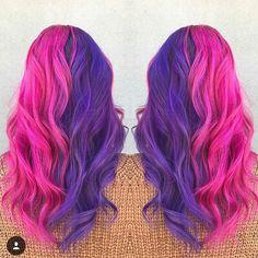Half purple half pink hair hair в 2019 г. hair, dyed hair и Bright Purple Hair, Pink Ombre Hair, Dyed Hair Purple, Brown Ombre Hair, Hair Color Purple, Hair Dye Colors, Cool Hair Color, Blue And Pink Hair, Bright Coloured Hair