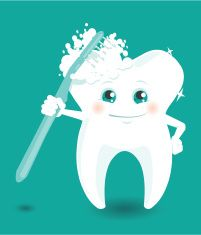 Tooth character cleaning himself with toothbrush vector art illustration