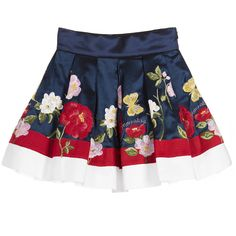 Monnalisa Girls Blue Skirt with Embroidered Flowers at Childrensalon.com