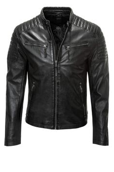 Gipsy Men s Biker Jacket Genuine Leather Racer Casual Spring Autumn Black  NEW 97a22585a8