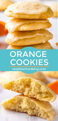 Fluffy Orange Cookies combine a soft sugar cookie with a zesty orange glaze. These cookies are the perfect pick-me-up for a dreary day. Chocolate Chip Shortbread Cookies, Toffee Cookies, Soft Sugar Cookies, Spice Cookies, Sugar Cookies Recipe, Yummy Cookies, Delicious Desserts, Dessert Recipes, Yummy Food