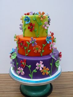 Marzipan... yuuummmiieeee!!  Colorful garden party cake by CAKE Amsterdam - Cakes by ZOBOT, via Flickr