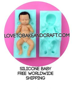 Polymer clay doll mold polymer doll mold fimo doll mold Premo doll mold sculpey doll mold Beautiful silicone double sided baby mold Mold size All Fondant Baby, Baby Cupcake, Fondant Rose, Cake Fondant, Fondant Flowers, Fondant Molds, Fondant Figures, Polymer Clay Fairy, Polymer Clay Dolls