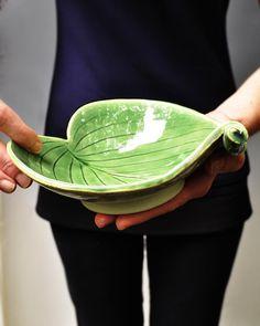 Hosta Leaf bowl single curled leaf