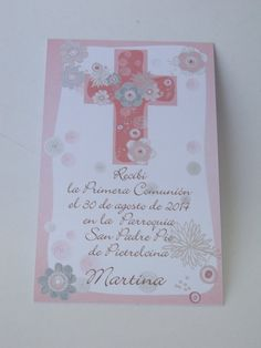 Estampa de comunión - Comprar en oui-we Communion, Christening, Amelia, Holi, Birthday Cards, Block Prints, Fiestas, Communion Invitations, Cute Cards