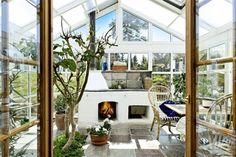 Fireplace in the greenhouse