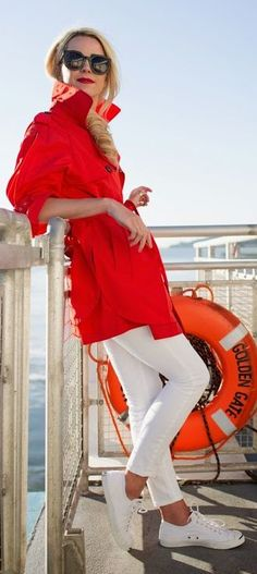 Street style Chic / karen cox.  Red And White Outfit Idea by Atlantic - Pacific
