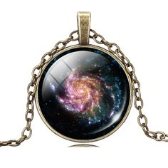 Bronze Chain Vintage Galaxy Necklace Jewelry for Women Cool Universe Pendant Necklace Choker Necklace Glass Cabochon Maxi Anime