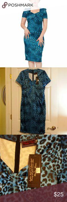 NWT Voodoo Vixen Blue Leopard Print Dress XL NWT blue leopard print Voodoo Vixen dress. Size XL. Lightweight satin like fabric. Purrfect rockabilly dress! Voodoo Vixen Dresses Midi
