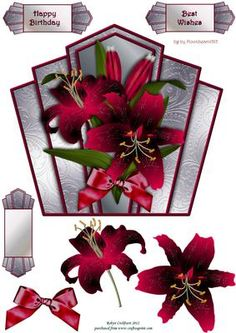 """Burgundy Lilies Art Deco Topper on Craftsuprint designed by Robyn Cockburn - An art deco shaped topper with decoupage and greeting labels. Measures approx. 7.1"""" x 6.4"""". - Now available for download!"""