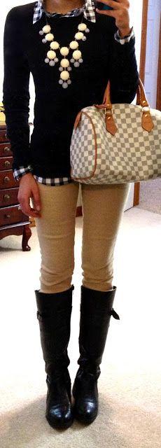 F21 Gingham Print Shirt,  Sweater via Target (in black), khaki jeans via Target, F21 riding boots, bubble necklace via eBay, NY watch, Louis Vuitton Speedy bag