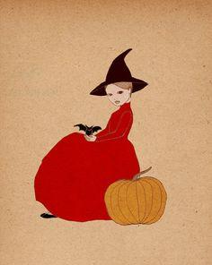 Halloween Art Bat Girl Deluxe Edition Print of by IrenaSophia, $20.00
