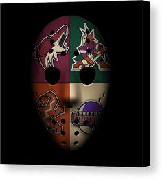 Coyotes Canvas Print featuring the photograph Phoenix Coyotes by Joe Hamilton Hockey Logos, Sports Team Logos, Sports Art, Coyotes Hockey, Phoenix Coyotes, Joe Hamilton, Arizona Coyotes, Goalie Mask, Hockey Stuff