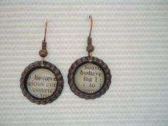 Believe Definition Earrings    These earrings feature snippets from a vintage dictionary of the word believe. Actual dictionary pages, not a copy.