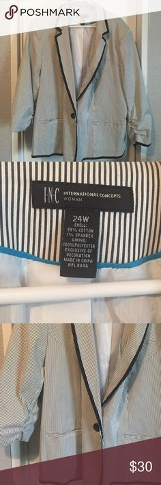 Black and white striped blazer 3/4 sleeve with rouching on bottom sleeve. Black and white striped with black trim. Pockets and button. INC International Concepts Jackets & Coats Blazers