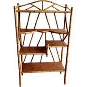 Antique Tortoise Bamboo & Wood Display Shelf étagère Bookcase ca.1890
