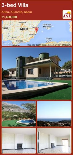Villa for Sale in Altea, Alicante, Spain with 3 bedrooms - A Spanish Life Murcia, Great Places, Places To Go, Blue Roof, Altea, Pubs And Restaurants, Alicante Spain, Seaside Towns, New Builds