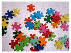"""Stanzteile - Stanzteile """"Puzzle, bunt"""", 50 Stk., 2,5 cm - ein Designerstück von Kreativstuebchen-Jansen bei DaWanda"""