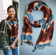 """Sophia > Rust, Blue, & Creme - Size :: 15"""" x 90"""" plus tasselsContents :: Rayon and Cotton blendBest Care :: Hand wash and dry flat. Refresh the scarf by ironing or steaming.Each scarf is designed and created by the Maisha Collective, a project of Heshima Kenya, an organization which empowers young refugee women to rebuild their lives with peace and dignity."""