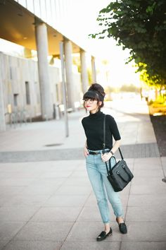 New Darlings: Day to Night Fall Style with JCPenney - light denim - black turtleneck