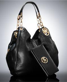 MICHAEL Michael Kors Fulton Large Shoulder Tote and Wallet Gift Set Black Leather Handbag Designer Fashion