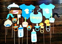 baby shower themed photobooth props: **pacifier & bottle**