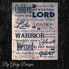 Father's Day gift, Scripture art, Psalm 127:3-5, Children are a Heritage from the Lord, INSTANT DOWNLOAD