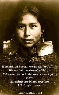"Chief Seattle...   ""Humankind has not woven the web of life.   We are but one thread within it.  Whatever we do to the web, we do to ourselves.   All thing are bound together.   All things connect.""    I love this... what a beautiful thought!"