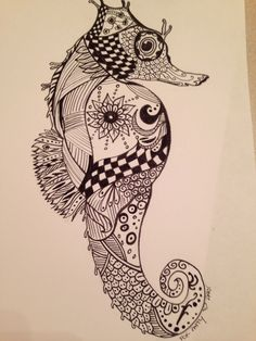 Doodle I did for a friend. I'm not in love with it but it's a start. #seahorse #doodle