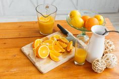 sliced oranges on a wooden cutting board healthy and tasty breakfast