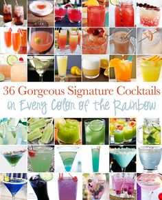 Gorgeous Signature Cocktails In Every Color Of The Rainbow - Perfect for a coordinating signature cocktail at the reception!