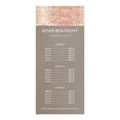 Shop Copper Sequins Hairstylist Hair Salon Price Menu created by sm_business_cards. Hair Salon Prices, Salon Price List, Beauty Business Cards, Rack Card, Salon Style, Branding, Pink Marble, Beauty Room, Hair Stylists
