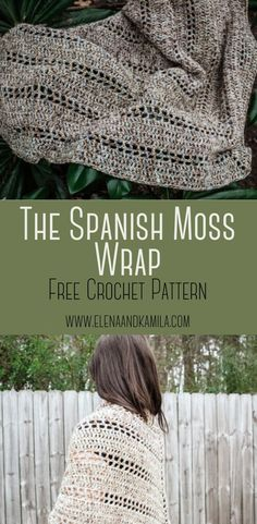 crochet shawl free The Spanish Moss Wrap Crochet Pattern. Free crochet pattern great for beginners. Beautiful, drapey crochet wrap that will make the perfect accessory. Crochet Wrap Pattern, Easy Crochet Patterns, Knit Or Crochet, Crochet Scarves, Crochet Clothes, Crochet Stitches, Free Crochet, Needlepoint Stitches, Needlework