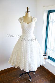 Cap Sleeve Polka Dot Tea Length Wedding Dress by ABoverly1