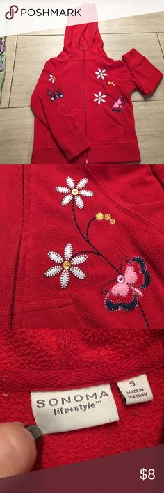 Girls red hooded sweatshirt with flower details Girls red hooded sweatshirt with flower & butterflies with button details. So cute Sonoma Shirts & Tops Sweatshirts & Hoodies