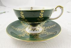 Aynsley Green Tea Cup and Saucer, Pedestal Footed Tea Cup, Vintage Teacup and Saucer, Bone China, Forest Green