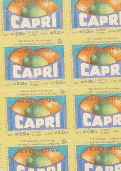 """DDR Museum - Museum: Objektdatenbank - Etikett """"Capri""""    Copyright: DDR Museum, Berlin. Eine kommerzielle Nutzung des Bildes ist nicht erlaubt, but feel free to repin it!"""