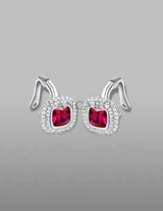 Square Cut Cubic Zirconia Bezel Ruby 925 Sterling Siler White Gold Plated Stud Earring